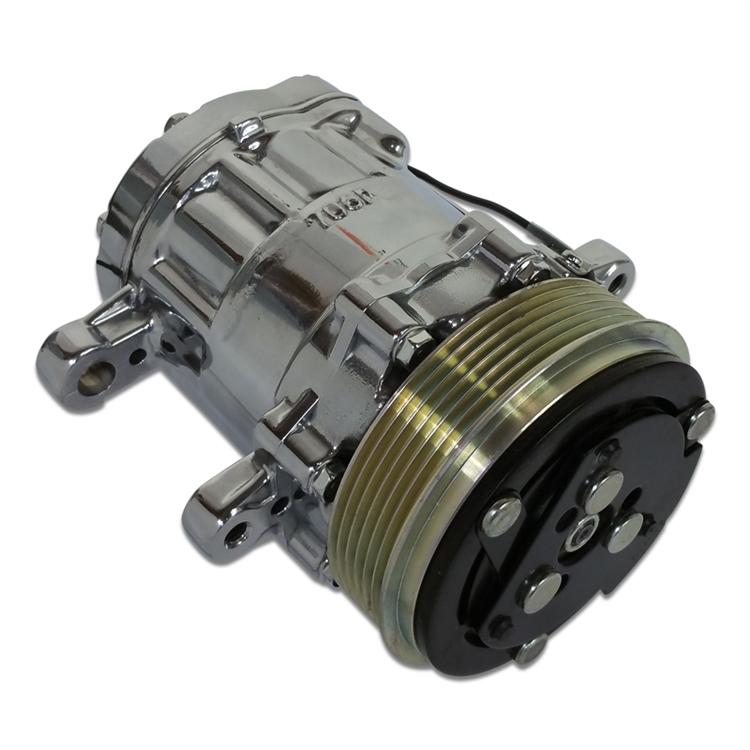 Air Conditioning Compressor Sanden SD7 Serpentine Belt, Eddie Motorsports  Replacement, Polished Finish